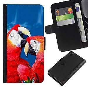 Sony Xperia Z3 D6603 / D6633 / D6643 / D6653 / D6616 , la tarjeta de Crédito Slots PU Funda de cuero Monedero caso cubierta de piel ( Love Parrot Red Blue Beautiful Bird Nature)