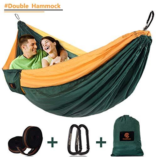 (Camping Hammocks with Adjustable Tree Straps, Outdoor Double Ultralight Portable Nylon Parachute Adjustable Hammocks for Backpacking, Hiking, Travel, Beach, Yard (Grey)-(L x W)118