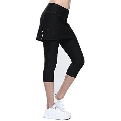 52e98d04a954d7 MIUNIKO Women s Yoga Skirted Capris Fitness Pants Leggings Workout Running  Athletic Tennis Skort