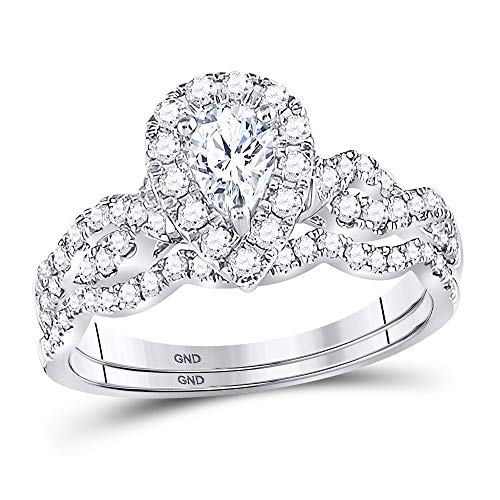 Jewels By Lux 14kt White Gold Womens Pear Diamond Twist Bridal Wedding Engagement Ring Band Set 1.00 Cttw In Prong Setting (SI3 clarity; G-H color)