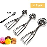 #10: JLPOW Cookie Scoop Set, 4 Packs Stainless Steel Ice Cream Scoop with Trigger Release, Ice Cream Scooper, Water Melon Baller, Ideal for Scoop and Drop Cookie Dough, Cake Pops, Dipper for Fruits