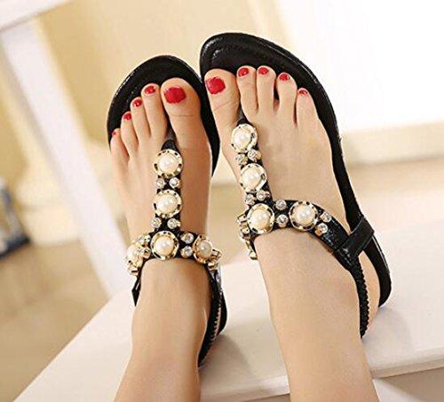 Ohmais Mädchen damen Frauen Flattie Sandalen Flache Schuhe Flops flache Sandalen Sommer mit Perlen Böhmen Schwarz
