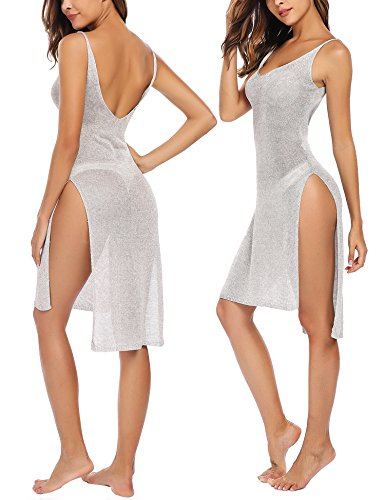 Avidlove Sheer Cover Up Knit Split Mesh Beach Dress Bodycon Swimsuit Cover Up