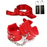 Baonmy Suprer Soft Comfortable Fur Leather Handcuffs and Blindfold Eye Mask