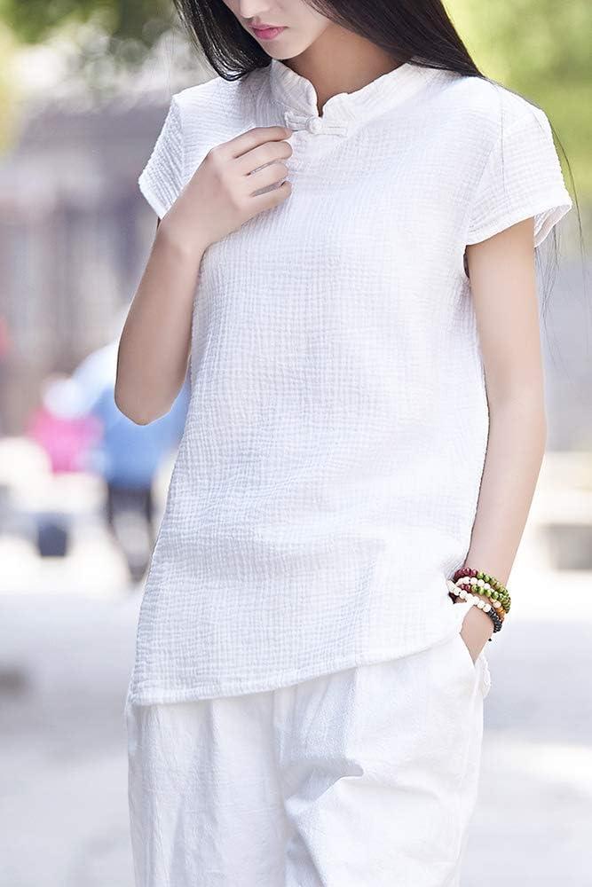 Camiseta de Manga Corta de Lino para Mujer Blusa con Botones Estilo Chino de Rana: Amazon.es: Ropa y accesorios