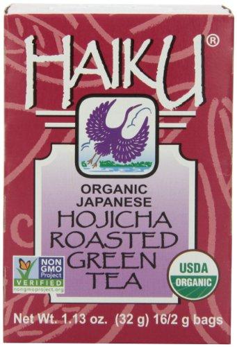 - Haiku Japanese Hojicha Roasted Green Tea, 100% Organic, 16 Count Tea Bag, 1.13 Oz