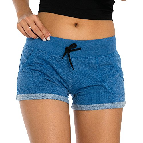 VBRANDED Women's French Terry Jogger Shorts Blue M