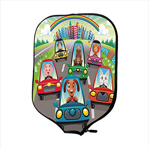 (Neoprene Pickleball Paddle Racket Cover Case,Kids Toddlers Room Decor,Colorful Funny Animals in Cars Doggy Piggy Kitten Horse Monkey Lion Decorative,Fit for Most Rackets - Protect Your Paddle)