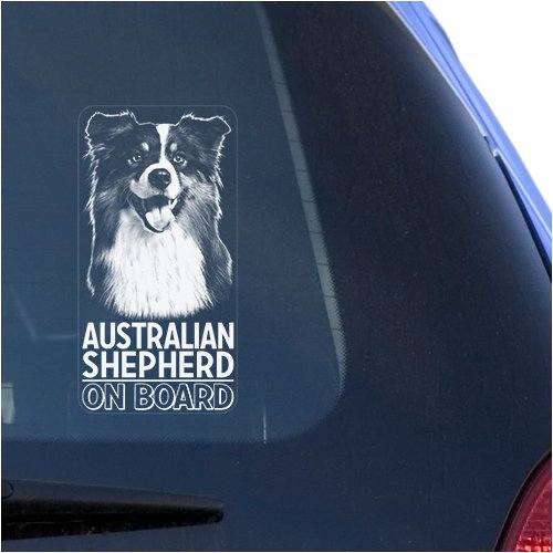 (Australian Shepherd Clear Vinyl Decal Sticker Portrait for Window, Aussie Dog Sign Art Print)