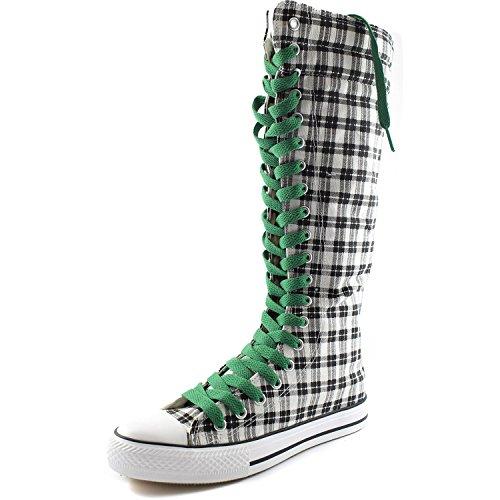 Dailyshoes Tela Donna Stivali Alti Metà Polpaccio Casual Sneaker Punk Flat, Stivali Scozzesi Wht Grigio, Foglia Verde Pizzo