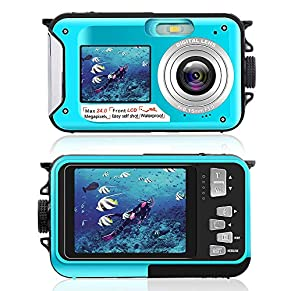 Underwater Camera for Snorkeling, Waterproof 2.7K 24MP Digital Camera, HD Rechargeable Camera with Dual Screen for…