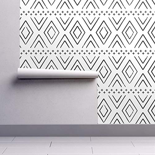 Peel And Stick Removable Wallpaper Geometric Diamond Black White Monochrome Decor Mudcloth Inspired By Littlearrowdesign 12in X 24in Woven