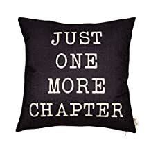 "Fjfz Just One More Chapter Motivational Sign Inspirational Quote Cotton Linen Home Decorative Throw Pillow Case Cushion Cover with Words for Book Lover Worm Sofa Couch, Black, 18"" x 18"""