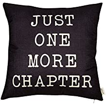 "Fjfz Just One More Chapter Motivational Sign Cotton Linen Home Decorative Throw Pillow Case Cushion Cover with Words for Book Lover Worm Sofa Couch, Black, 18"" x 18"""