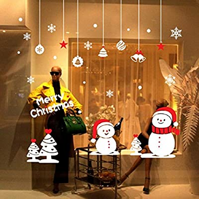 Christmas Window Stickers Wall Sticker,Ikevan 75x75cm Christmas Shop Home Window Christmas Snow Ball Removable Wall Stickers Decal Decor White&Red