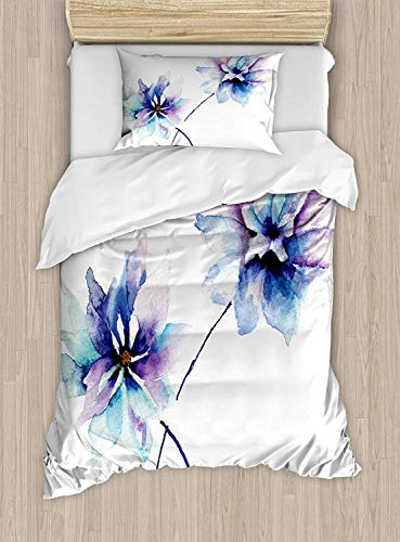 VANKINE Twin XL Extra Long Bedding Set,Watercolor Flower Duvet Cover Set,Flower Drawing with Soft Spring Colors Retro Style Floral Artwork,Include 1 Flat Sheet 1 Fitted Sheet and 2 Pillow Cases (Xl Twin Comforter Fur)
