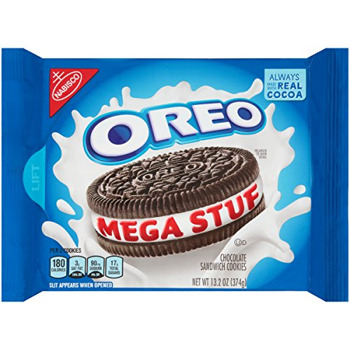 OREO Mega Stuf Chocolate Sandwich Cookies, Original Flavor, 1 Resealable 13.2 oz Pack