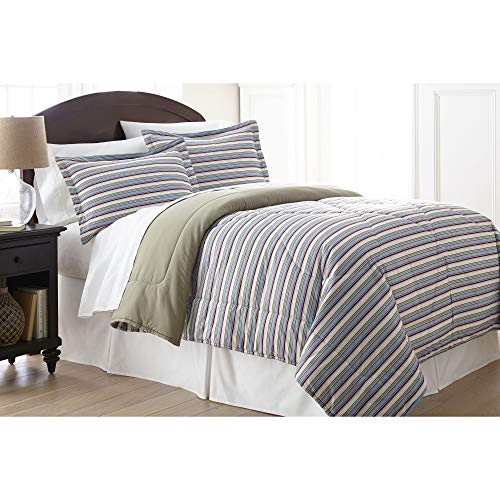 Shavel Home Products MFNCMQNAWNW Micro Flannel Full/Queen Reversible Comforter with 2 Standard Sham, Awning Stripe - Stripe Bedding Awning