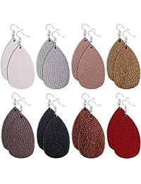 3e3df8a519b 8 Pairs Leather Earrings Lightweight Faux Leather Leaf Earrings Teardrop Dangle  Drop Earrings for Women Girls