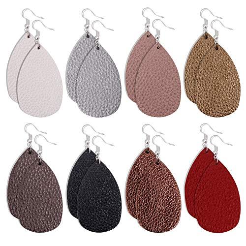Dangle Leather (Onory 8 Pairs Leather Earrings Lightweight Faux Leather Leaf Earrings Teardrop Dangle Drop Earrings for Women Girls (A))
