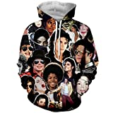 YX GIRL Unisex 3D Print Michael Jackson Hoodies Pockets Hoodies Hip hop Sweatshirts (M, Michael Jackson)