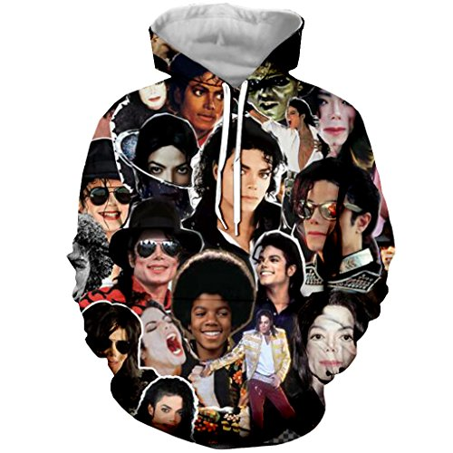 YX GIRL Hoodies Michael Jackson Unisex 3D Printed Hooded Funny Sweatshirt Pockets(Michael Jackson, XS) -