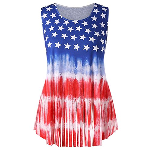 VIASA Women Flag Print Patriotic Blouse Tank Top Casual Loose Sleeveless Vest T-Shirt (S, Red) - Belted Charmeuse Top