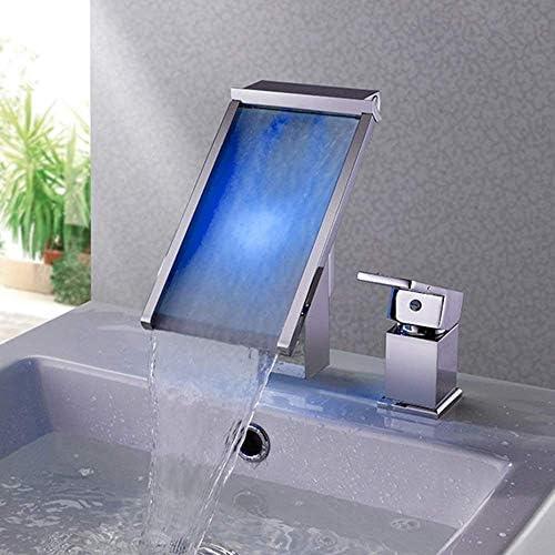 WXQ-XQ 美しい実用的な現代ツェッペリン銅水パワー・浴室バスタブ洗面台の蛇口の滝の水の色の変更色温度コントロール2穴ホットとコールド蛇口