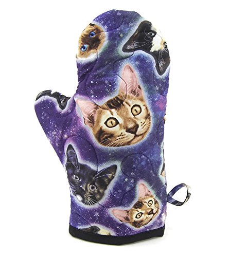 Cat Pot Holder (Cats in Space Oven Mitt - Blue, Purple and Black Cotton Pot Holder)