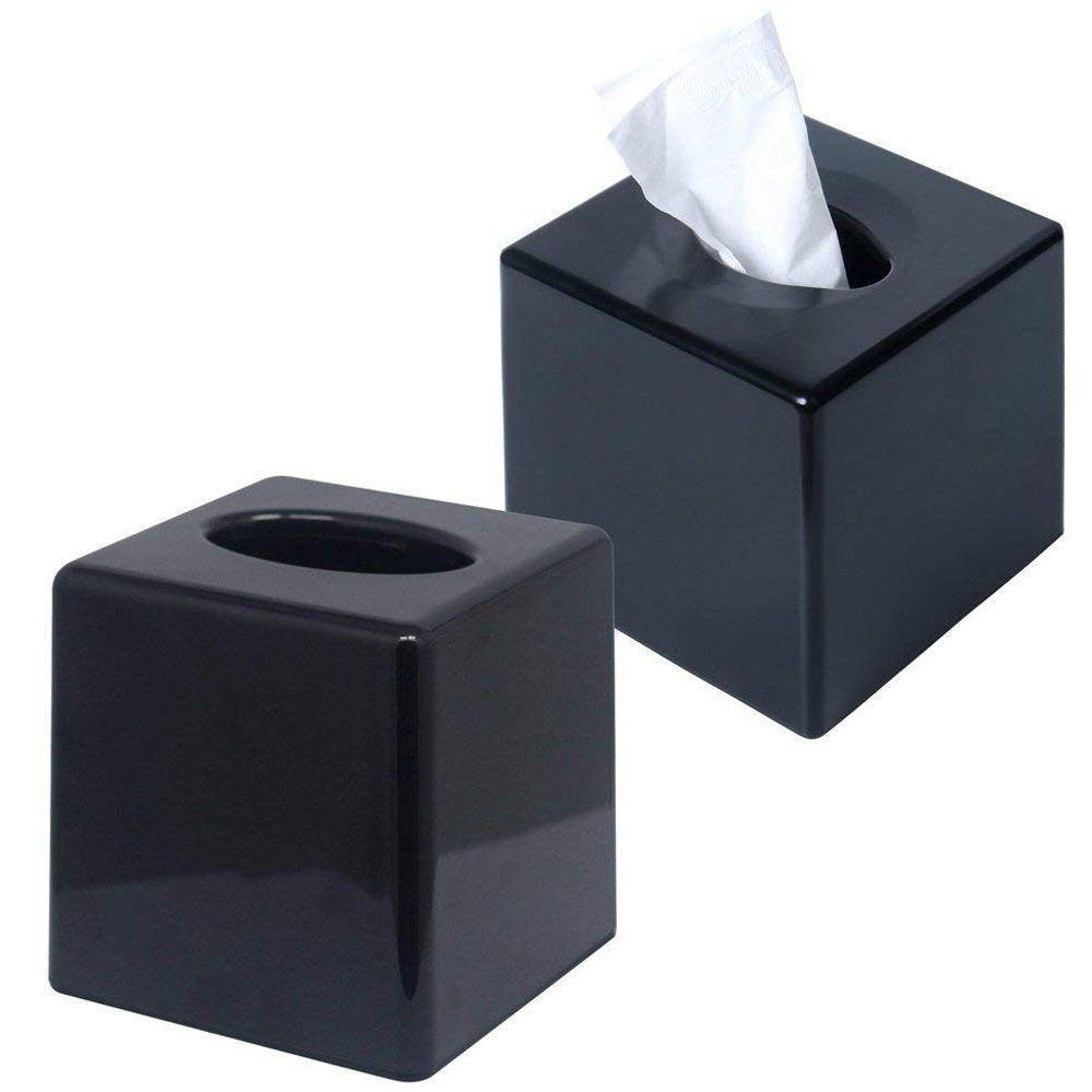 CROWNSTARQI Tissue Box Cover Holder Kleenex Napkin Holder Bathroom Organizer Stand ABS Plastic Finish(Black)