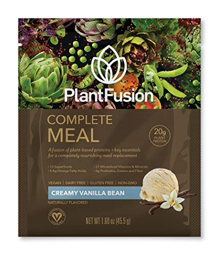 PlantFusion Complete Meal Plant Based Protein Powder, Creamy Vanilla Bean, 1.6 oz Single Serving Packet, 12 Count, Gluten Free, Vegan, Non-GMO, Packaging May Vary
