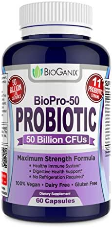 Probiotic BIOPRO 50 Billion CFU with 11 Strains + Prebiotic Supplement for Women, Men & Children | Guaranteed Potency - Shelf Stable Acidophilus Probiotic | Vegan, Dairy Free | 60 Veggie Capsules