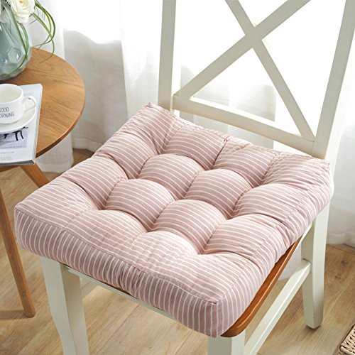 JRMU Square Thickening Chair Pads, Tufted Cotton Washable Chair Cushion Comfortable Soft Solid Color Seat Cushion for Office 43x43cm (17x17in)-A Stripe-Light Pink (Stripe Office Chair)