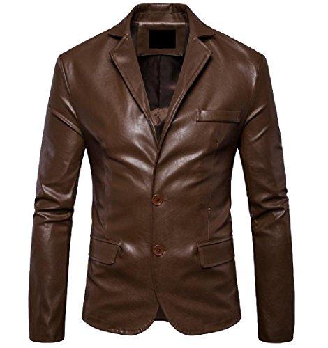 Top SportsX Men Solid Long Sleeve Lapel 2 Button Moto Suits Coat Jacket