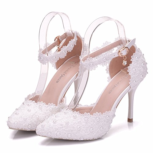 Crystal Queen Women High Heels Sandals White Lace Pearls Wedding Shoes Pointed Toe Thin Heels Pumps Women Shoes (39 M EU / 8 B(M) US, White)