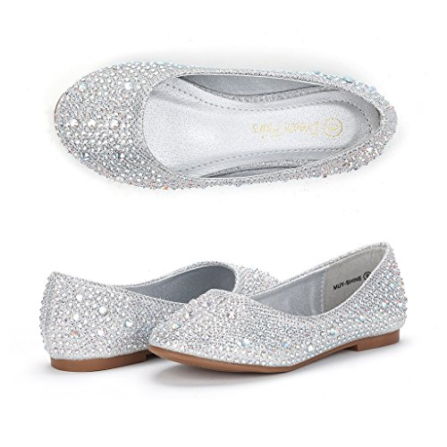 Dream Pairs Little Kid Muy-Shine Silver Glitter Girl's Mary