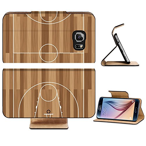 Luxlady Premium Samsung Galaxy S6 Edge Flip Pu Leather Wallet Case IMAGE ID 5973391 basketball court outline with wooden floor of - Court Oak