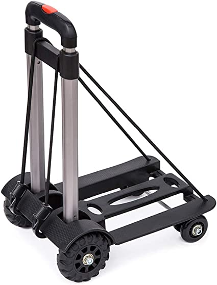 Moving and Office Use 4 Wheel-roate 75 Kg//165 lbs Heavy Duty 4-Wheel-roate Solid Construction Compact and Lightweight Utility Hand Cart for Luggage Travel Portable Folding Hand Truck Auto