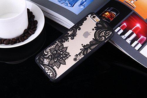 König-Shop Handy Hülle Mandala für Samsung Galaxy S7 Design Case Schutzhülle Motiv Blüte Cover Silikon Tasche Bumper Schwarz