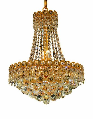 Elegant Lighting 1901D16G/RC Century 20-Inch High 8-Light Chandelier, Gold Finish with Crystal (Clear) Royal Cut RC Crystal