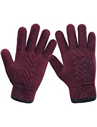 Unique Cuff Winter Gloves Womens Solid Color Warm Knitted Thick Gloves