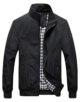 QitunC Hombre Chaqueta Bomber Plus Size Collar De Pie Cremallera Cazadora Abrigo: Amazon.es: Deportes y aire libre