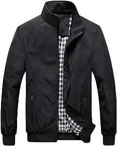 QitunC Hombre Chaqueta Bomber Plus Size Collar De Pie Cremallera Cazadora Abrigo