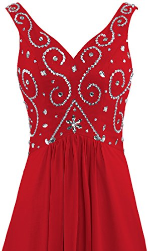 Women's Prom Bead Evening ANTS Gown Chiffon Long V Neck Red Dresses dXSx6q