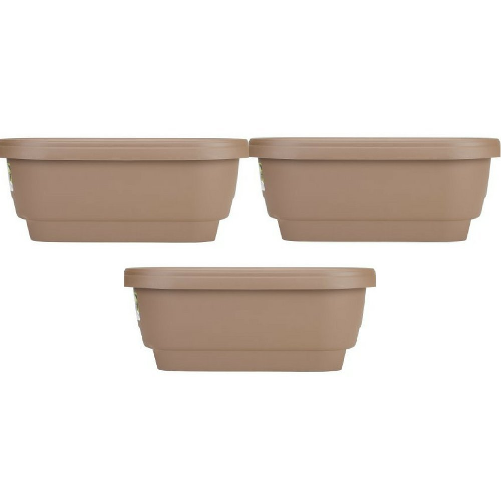 Bloem Deck Rail Planter 24 inch Chocolate, Pack of 3