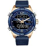NAVIFORCE Genuine Leather Chronograph Analog Digital Wristwatch for Men - Blue Golden + Kids Sport Watch