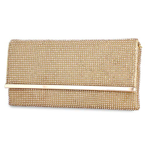 TanpellWomen's Bling Soft Rhinestone Crystal Evening Clutch Bags with Detachable Chain Gold
