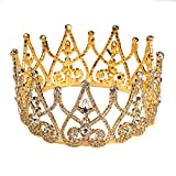 Superhai Golden Bride Rhinestones Circular Crown Golden Crown Bridal Headdress Headdress Baroque