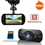 Car Dash DVR - Elecwave EW-D300 1440P 2K Ultra Full HD Car Dash Camera 170 Degree with 32GB Micro SD Card A12 Chips with GPS, Black