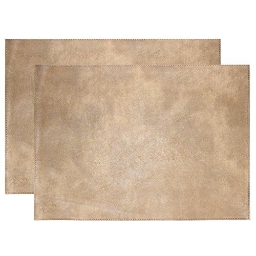 Set of 2 Kiyasa Handmade Faux Leather Rectangular Placemat White